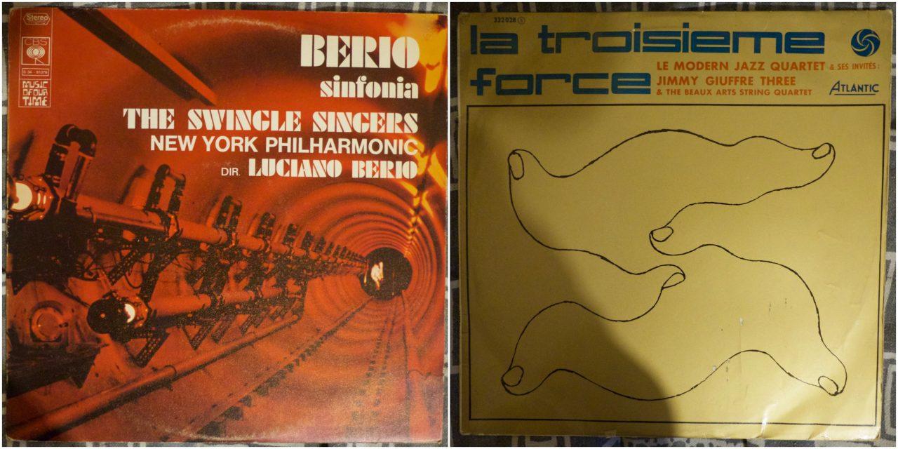 Pochettes d'albums de : Berio - sinfonia et le Modern Jazz Quartet - la troisième force