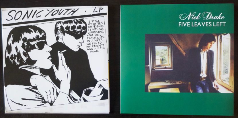 Deux albums vinyles. Sonic Youth / Goo et Nick Drake / Five Leaves Left.