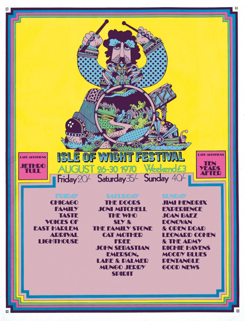 Affiche du festival de l'ile de Wight en 1070