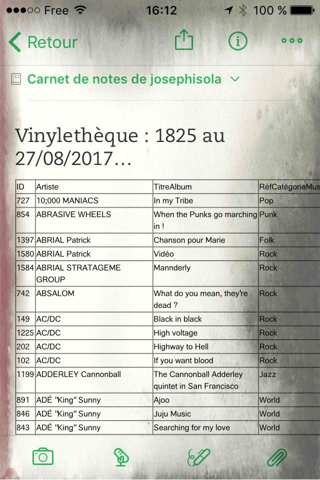 capture écran BdD Vinyles